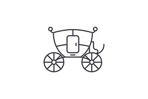 Wedding carriage line icon concept