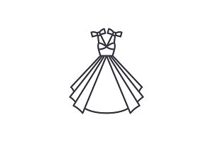 Wedding dress line icon concept