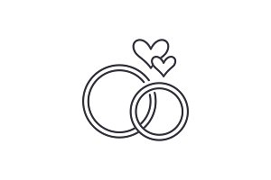 Wedding rings line icon concept
