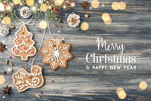 Bright Merry Christmas Greeting card