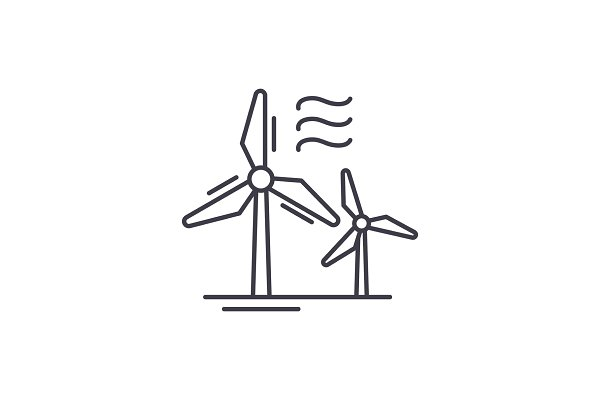 Wind power line icon concept. Wind