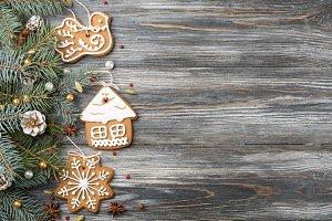 Festive frame Gingerbread cookies