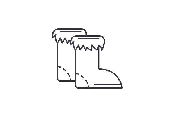 Winter boots line icon concept
