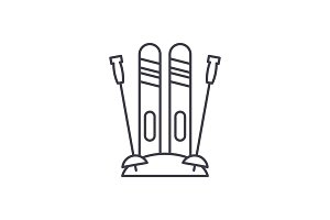 Winter skiing line icon concept