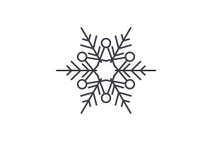 Winter snowflake line icon concept