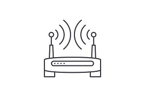 Wireless internet line icon concept