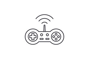 Wireless joystick line icon concept