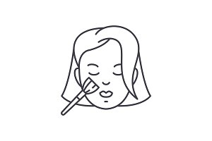 Woman makeup line icon concept