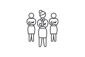 Women in business line icon concept
