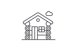 Wooden house line icon concept