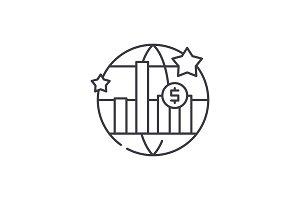 World economic growth line icon