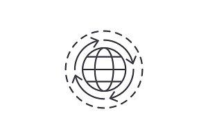 World economy line icon concept
