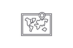 World map line icon concept. World