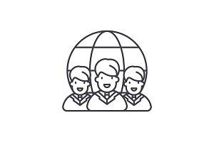 World market line icon concept