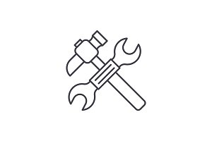 Wrench and hammer line icon concept