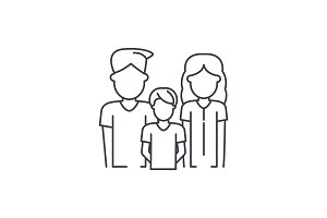 Young family line icon concept