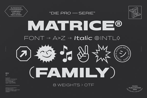 Display Fonts: Studio Sun - 75 % off Matrice - Font Family