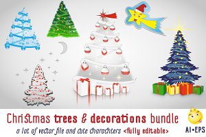 Christmas trees & decorations bundle