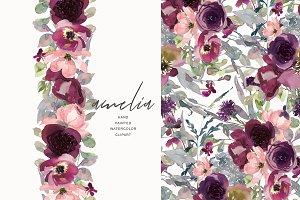 Watercolor Burgundy Elegant Flowers