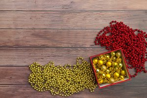 Christmas gold and red decor