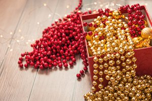 Christmas gold and red decor in red