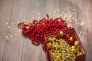 Christmas gold and red decor in box