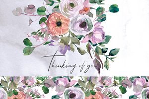 Watercolor Pink Peach Soft Flowers