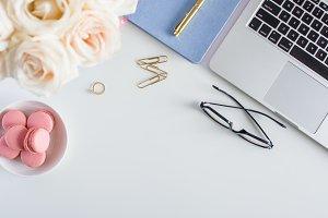 Styled White Desk: White Roses