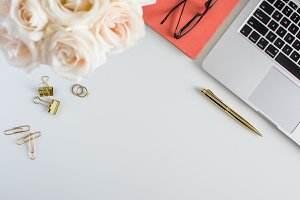 Styled White Desk: White Gold Pink