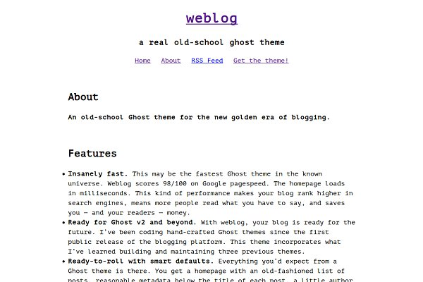 Ghost Themes: Curiositry - weblog — old-school ghost blog theme
