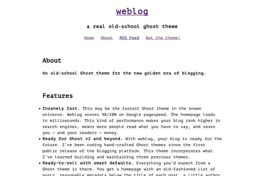 weblog — old-school ghost blog theme