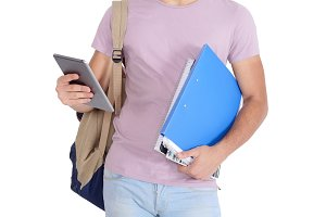 Young latin student using digital ta