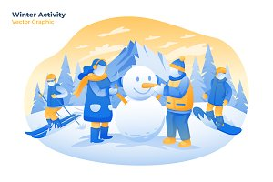 Winter Activity- Vector Illustration