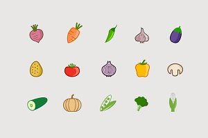 15 Vegetable Icons
