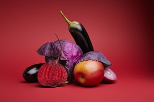 Ripe organic fruits and vegetables