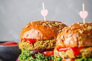 Vegan lentil burgers. Healthy food
