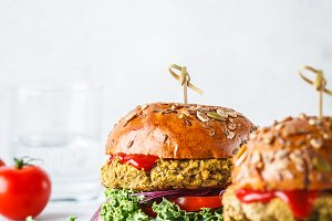 Vegan lentil burgers. Healthy food