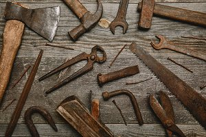 Top view of various rusty carpentry