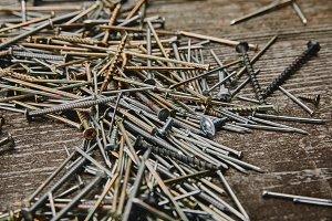 Close up of nails and screws tools o