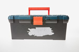 Close up of tool box isolated on whi