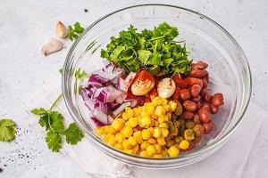 Ingredients for vegan meatballs