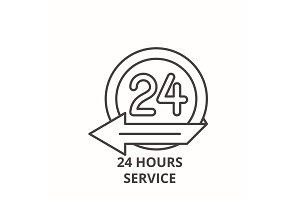 24 hours service line icon concept
