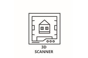 3d scanner line icon concept. 3d