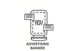 Advertising banner line icon concept