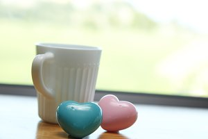 White coffee cup white Pink heart wi