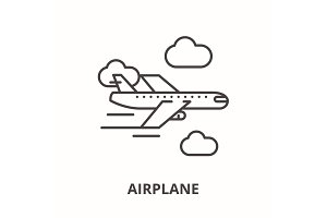Airplane line icon concept. Airplane