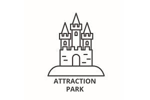 Attraction park line icon concept