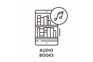 Audio books line icon concept. Audio
