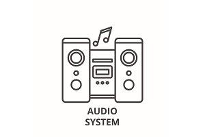 Audio system line icon concept
