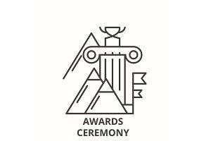 Awards ceremony line icon concept